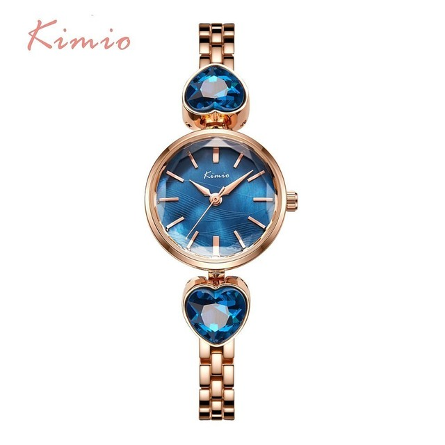 KIMIO Ladies Watch Love Crystal Blue Sea Woman Watches Bracelet Watch Women Fash