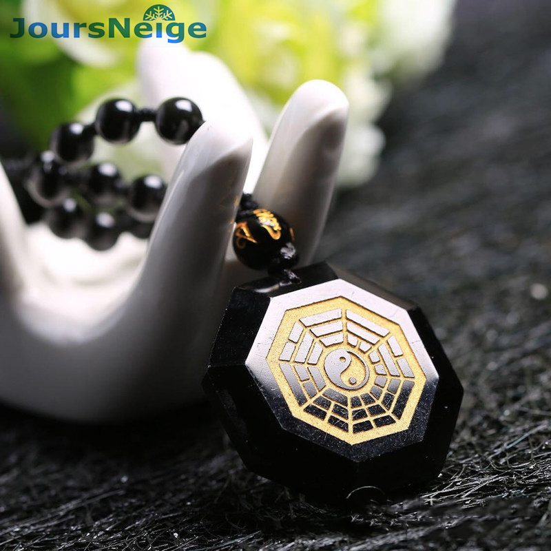 JoursNeige Natural Obsidian Stone Bagua Map Pendant Necklace Lucky Evil Spirits Transport Women Men Fashion Jewelry Accessories