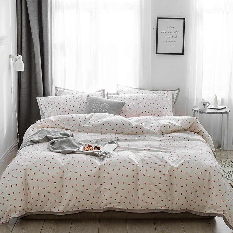 Four Pieces Ribbed Satin 100% Cotton Fresh Bedding Sets Fruits Strawberry Cherry Orange Include Duvet Cover+Bed Sheet+Pill
