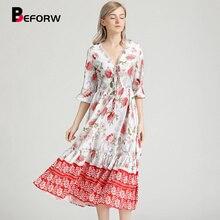BEFORW 2019 New Boho Chic Dress Summer Women V Neck Lace Floral Print Beach Long Dresses Ladies Causal Vestidos Robe Femme