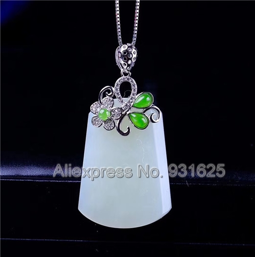 925 silver Natural White Green HeTian Yu Carved Elegant Flower Buckle Lucky Pendant + Necklace + certificate Fashion Jewelry925 silver Natural White Green HeTian Yu Carved Elegant Flower Buckle Lucky Pendant + Necklace + certificate Fashion Jewelry