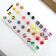 Hot Sale Candy Color Stud Earrings Lady's Allergy Free Plast