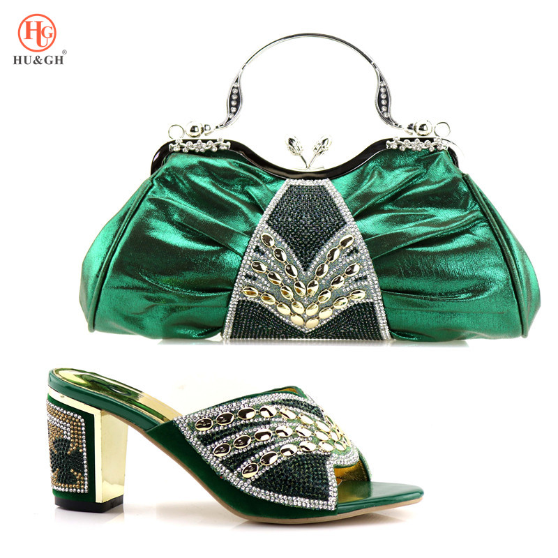 Green Color Novel Design Shoes and Bag Sets African Italian Shoes with Matching Bags Ladies Shoes and Bag African Party Shoes yh01 hot sale african matching shoes and bag with stone fashion dress shoes and bags free shipping