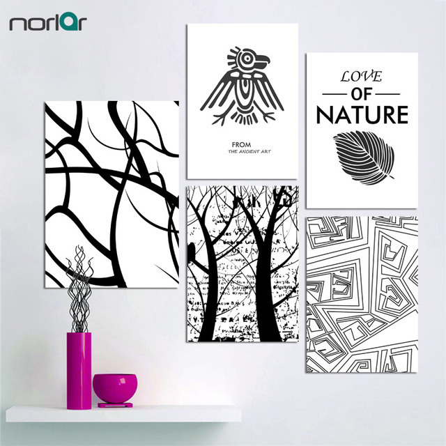 Modern nordic minimalist black white the tree leaves large art prints poster abstract wall picture canvas