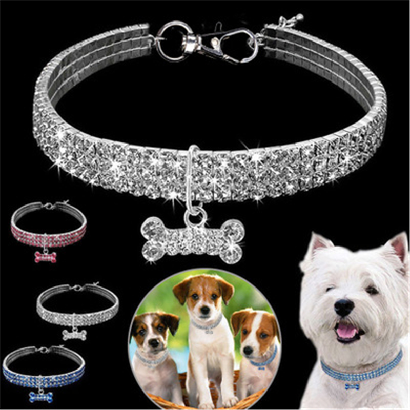 Bling Rhinestone Dog Collar Crystal Puppy Chihuahua Pet Dog Collars Leash For Small Medium Dogs Accessories S M LPink blue white