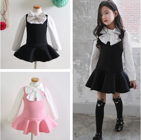 aac743cecc Wholesale korean fashion school styles bows tie girl overall dress children  baby long sleeve dresses uniform clothing-in Dresses from Mother   Kids on  ...
