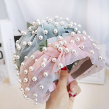 New Women Summer Gauze Yarn Lace Wide Knot Hairbands Nailed With Ivory Pearls Sweet Ice Cream Colors Headband For Holiday