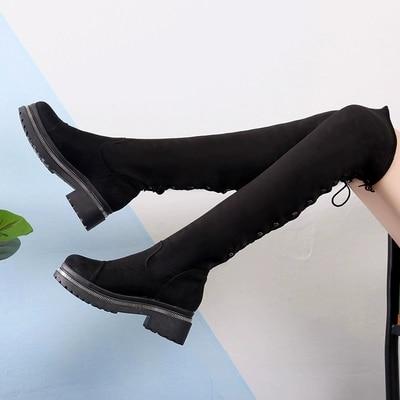 Velours Britannique Stretch Plat Bottes Plus Slim Hiver De leather Le Surface 2018 Suede Femmes Mode 0anS8q8
