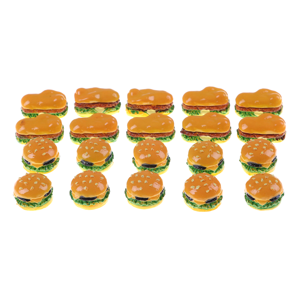 Image 2 - 2Pcs Hamburgers Mini Miniature Food Figurine Anime Action Figure Toys For Home Garden Decor DIY Accessories-in Kitchen Toys from Toys & Hobbies