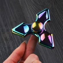 DHL 100pcs/lot New 2017 Metal Alloy Tri-Spinner Hand Fidget Spinner For Autism and ADHD Finger Spinner Anti Stress Gift Toy