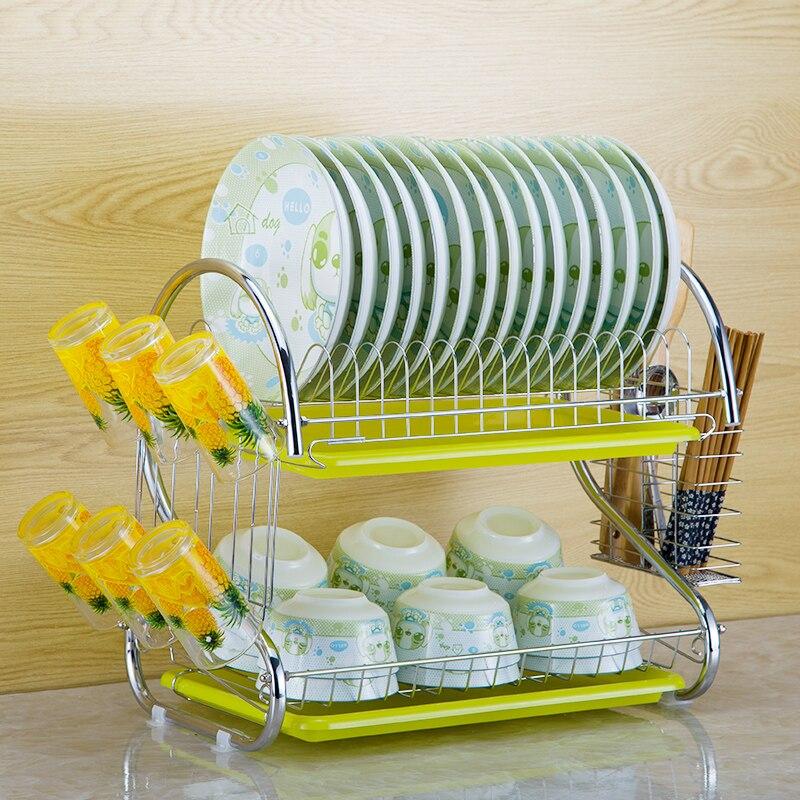 S En Forme de Plat Rack Ensemble 2-Tier Chrome Vidange En Acier Inoxydable Plaque Plat Couverts Tasse Rack Avec Plateau bol Rack Étagère de la Cuisine