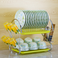 S Shaped Dish Rack Set 2 Tier Chrome Stainless Plate Dish Cutlery Cup Rack With Tray Steel Drain Bowl Rack Kitchen Shelf