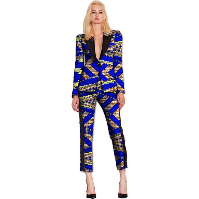 2085590db3d African print women blazer and Cropped Trousers sets ladies patchwork  Ankara suit jacket+pant set ladies dashiki clothes