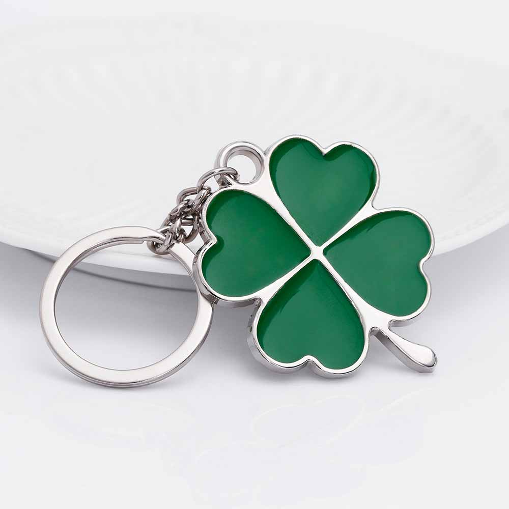KISSWIFE Stainless High Quality Green Leaf Keychain Fashion Creative Beautiful Four Leaf Clover Steel Lucky Key Chain Jewelry jujube wood tube lucky stainless steel keychain black