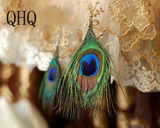QHQ earrings feathers drop brincos earing fashion jewelry accessories korean druzy bride bohemian ethnic women jewellery vintage