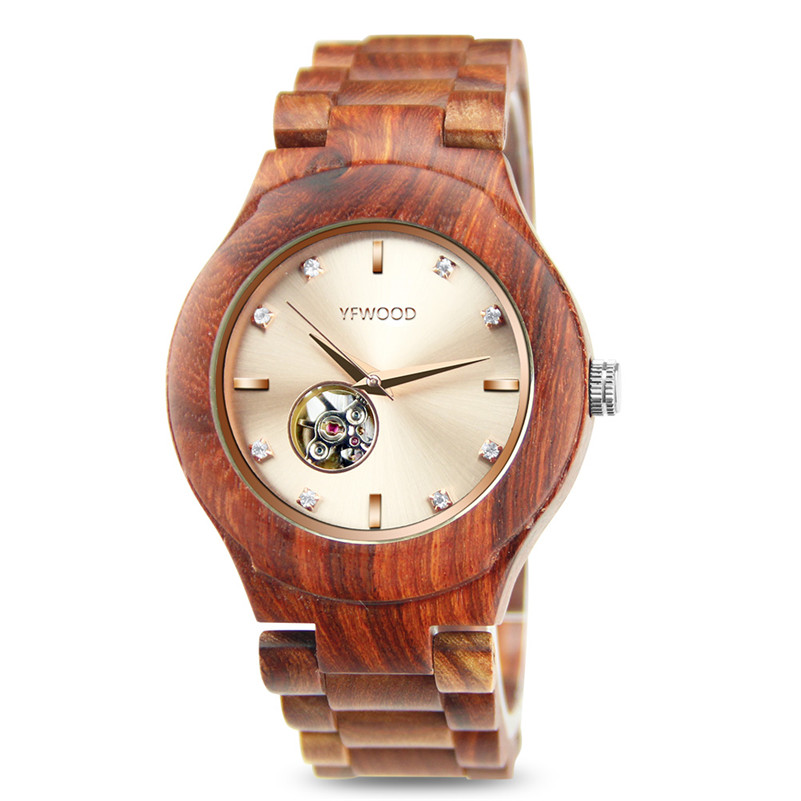 relogio masculino Men Watches Top Brand Luxury Automatic Watch Rose Golden Dial Male Clock Wood Mechanical Watch top brand men watch automatic mechanical men watches hollow wristwatches hours luxury men dial watches clock relogio masculino