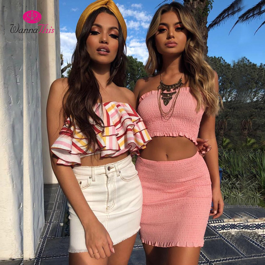 f41c560afd92b WannaThis Ruched 2 Pieces Set Women Strapless Sleeveless Cropped Tube Top  Stretchy Sexy Short Mini Skirt 2018 Summer Sets Ladies-in Women's Sets from  ...