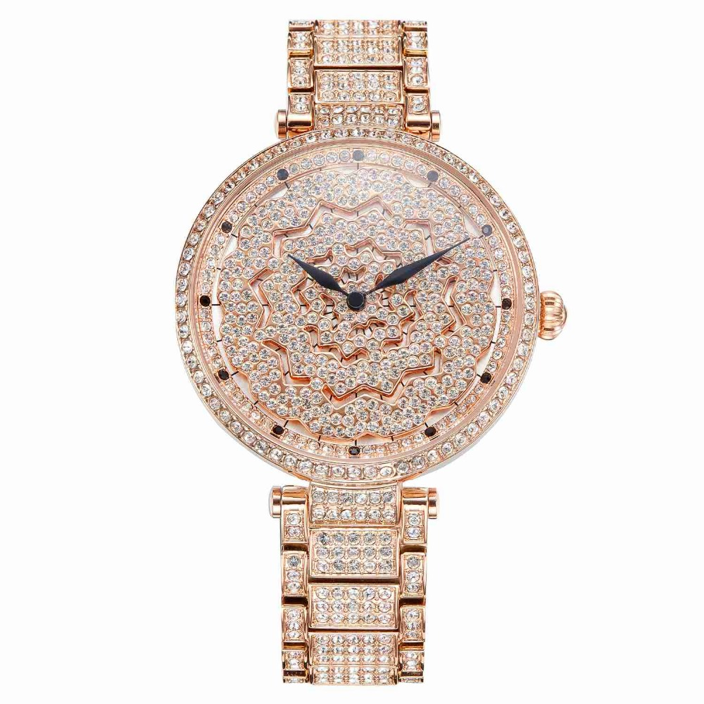 MATISSE Fashion Austria Crystal Rotatable Dial Steel Strap Buiness Quartz Watch Wristwatch Rosegold