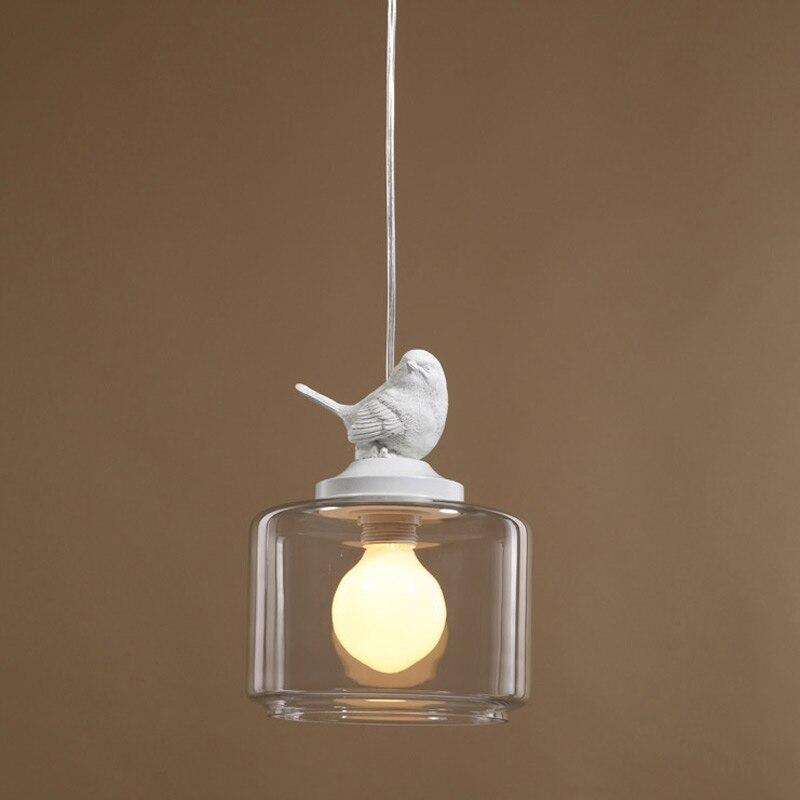 Moderne salle à manger cuisine Restautant pendentif éclairage nouveauté résine oiseau verre abat-jour blanc fer décor lampe E27 110-220 V
