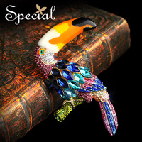 Especial de Moda de Nova Ouro Animais Broches Pinos Lindo Pássaro Broche de Vestidos Coloridos Jóias Presentes para Mulheres Dos Homens XZ151314