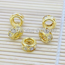 100pcs Gold color Round Clear Crystal Rhinestone Loose Spacer Beads Fit Charm European Bracelet Beads