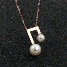c41b7794c07f Yun ruo 2018 nueva llegada de oro de color rosa moda perla COLLAR COLGANTE  musical titanio acero mujer joyería regalo nunca se d.