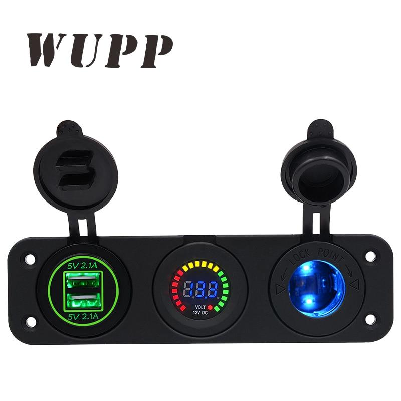 WUPP Double Usb Vert Auto Voiture Allume-cigare Socket Dc 5 V 4.2A Puissance Adaptateur Chargeur Pour Téléphones Numérique Voltmètre affichage