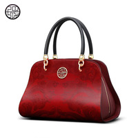 2018 new fashion Chinese leather cowhide female bag red large bag dinner portable shoulder bag large package more than ever
