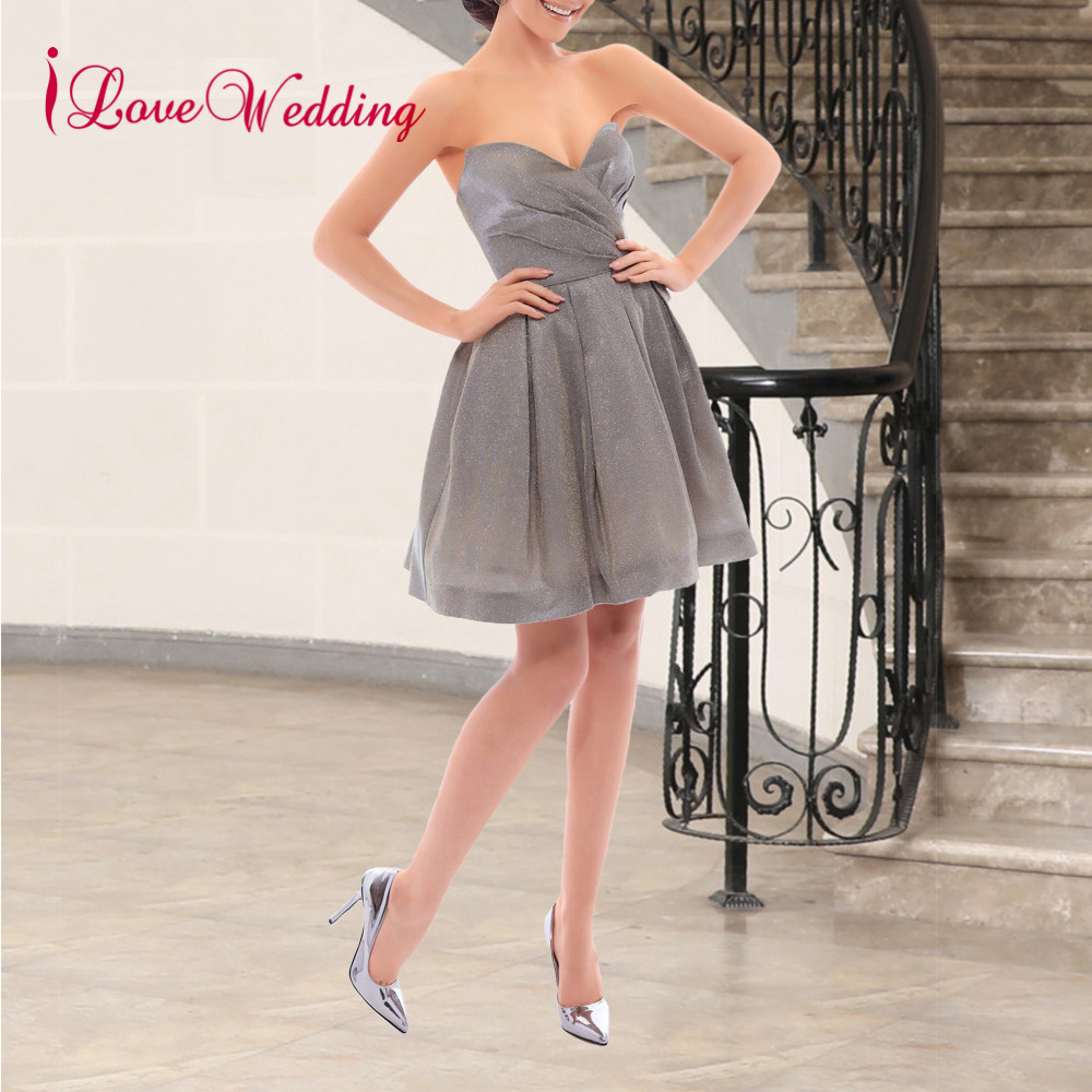 iLoveWedding 2019 New Arrival Sweetheart Silver Sequin A Line   Cocktail     Dress   Custom made Short Cheap   Cocktail   Party Gown