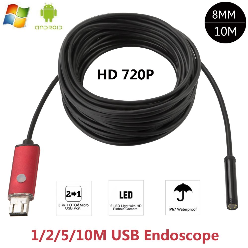 2-IN-1 2MP 5M 2M 10M Android USB Endoscope HD Camera 8mm IP67 Walterproof Snake USB Camera HD 720P Android Mobile USB Borescope