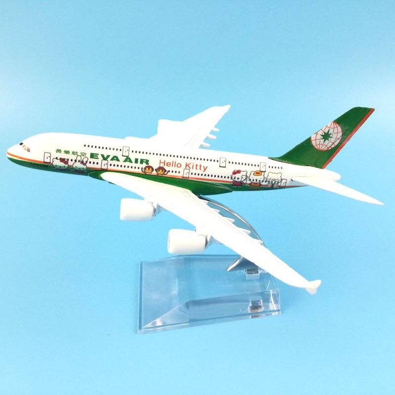Бесплатная доставка 16 см A380 EVA Air Hello Kitty металлического сплава модель самолета Модель самолета игрушки подарок на день рождения