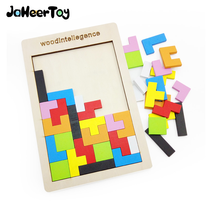 JaheerToy Baby Toys Jigsaw Board Wooden Puzzle Toy For Children Montessori Educational  Color Tetris Game Kids Gifts