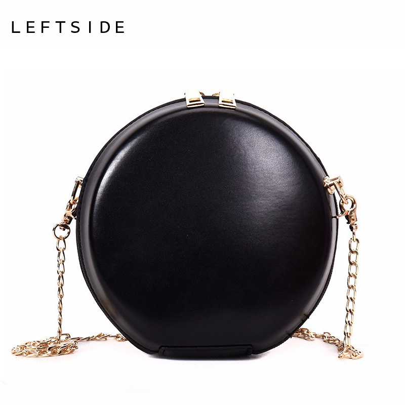 LEFTSIDE 2018 Women Mini Round Cross Body Bags PU Leather Circle Box Female Handbags Messenger Bag For Lady Chain Shoulder Bags 2017 new simple mini women shoulder bag fashion chain messenger bags high quality pu leather cross body for lady small bag