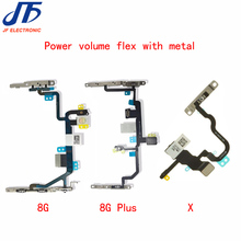 10pcs New For iphone8 8G Plus X XR XS XSMAX  Power On Off Button Volume Switch Connector Flex Cable with Metal Replacement Parts