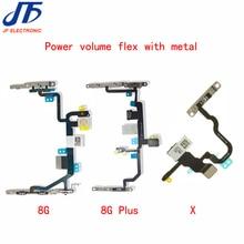 Cable flexible para iPhone 8 8G Plus X XR XS XSMAX, botón de encendido y apagado, Conector de interruptor de volumen, piezas de repuesto de Metal, 10 Uds.
