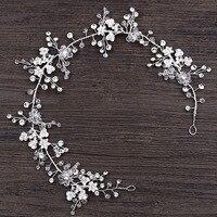 New Bridal Metal Flower Headband White Crystal Rhinestone Wedding Hairband Fashion Hot Sale Bride Hair Accessories Headwear