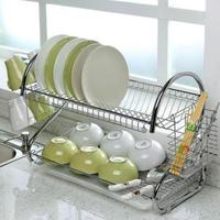 Yfashion edelstahl dish rack doppel ablauf schüssel rack küche rack lagerung und trocknen geschirr liefert-in Regale und Halter aus Heim und Garten bei