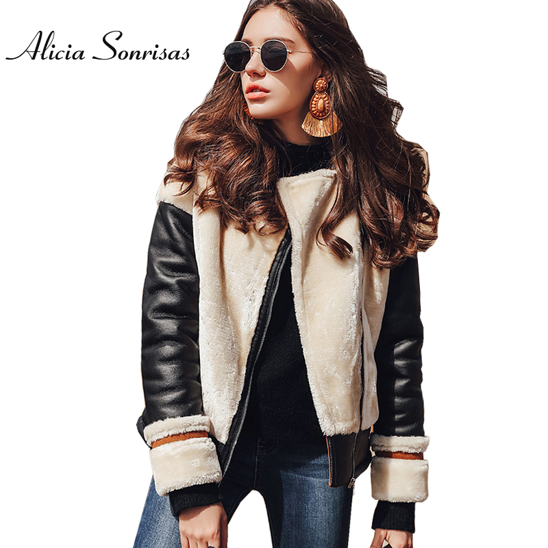 Women Short Faux Sheepskin Coat New 2017 Winter Warm Thick Fur PU Sleeve High Street Womens   Leather   Brown Jackets MF175825