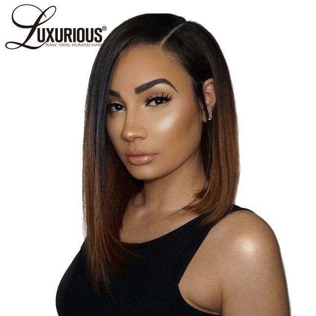 Peluca corta de pelo humano de lujo de Color Ombre #1B/4 150% nudos blanqueados de densidad cabello humano frontal de encaje peruano pelucas de cabello Remy