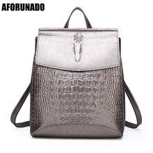 Fashion Lady High Quality Backpack Women Crocodile Pu Leather Female Backpacks Mochila Feminina Rucksack Mochilas Mujer 2020