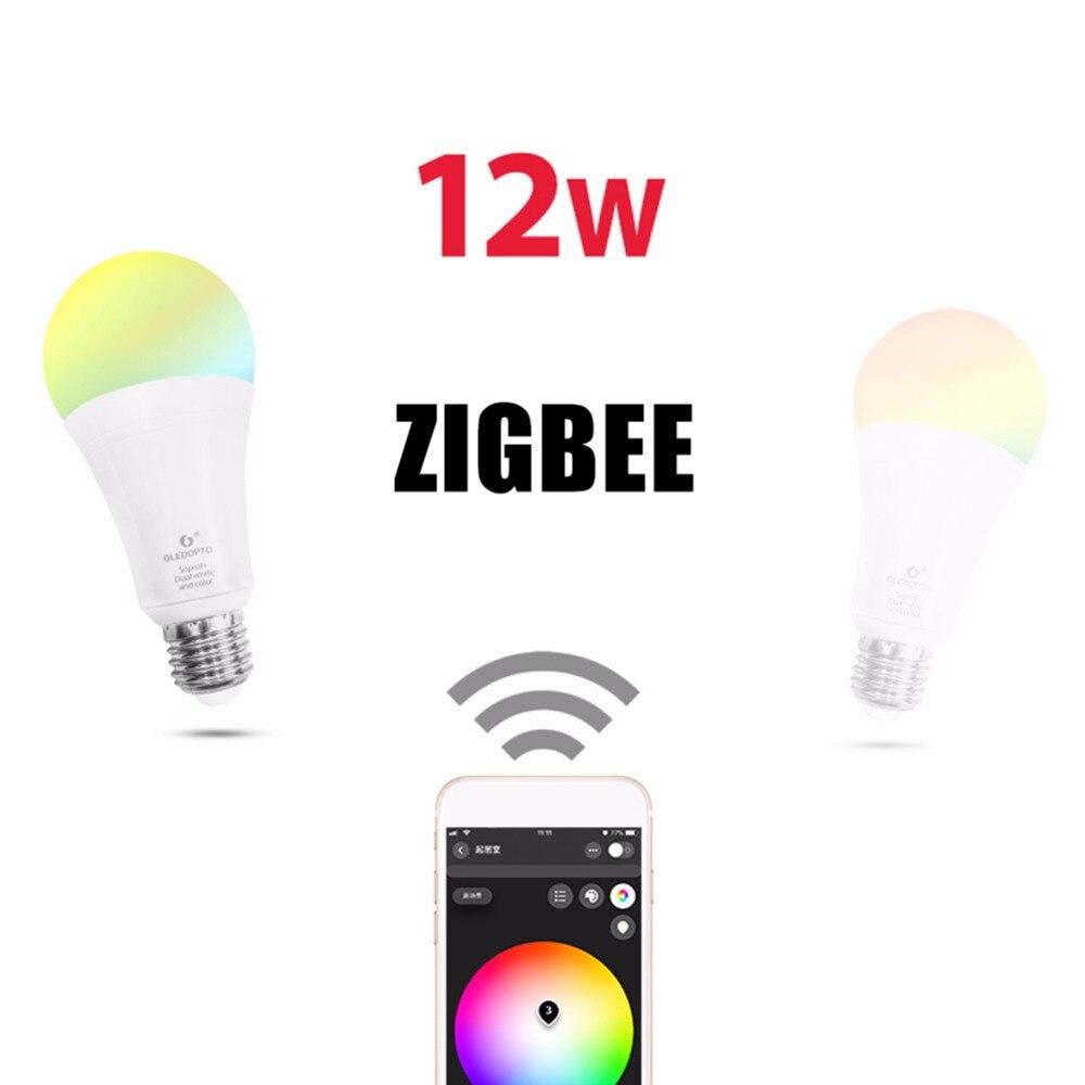 LED ZigBee 12 W RGB + CCT ampoule AC100-240V RGB et double blanc 2700-6500 K LED ampoule Compatible pour Homekit ampoule LED intelligente