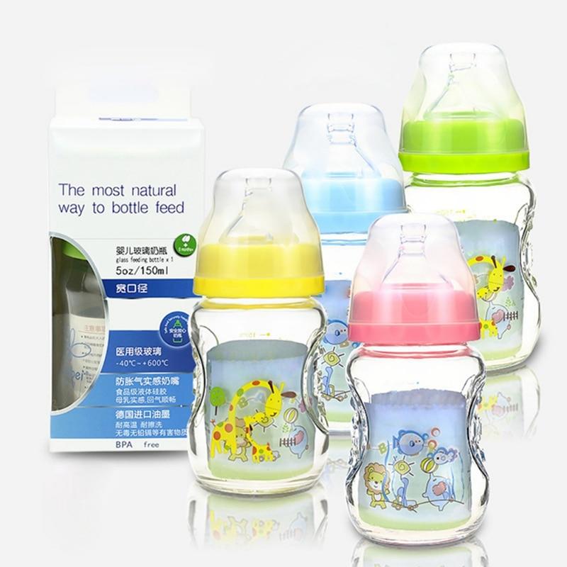 150Ml Baby Bottle Kids Children Learn Feeding Bottle Drinking Water Milk Glass Cartoon Cute Baby Feeding Bottle