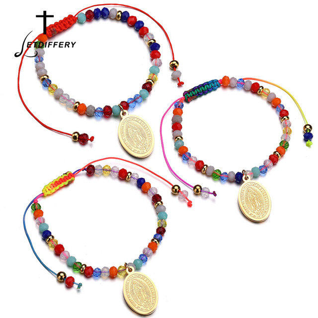 Letdiffery Virgin Mary Religious Christian Jewelry For Women New Bohemia Rope Chain Adjustable Beads Chain Bracelet