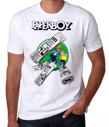 Paperboy 80s Arcade Game Retro Gamer Console Video Game Fun White T Shirt Round Neck Cra ...