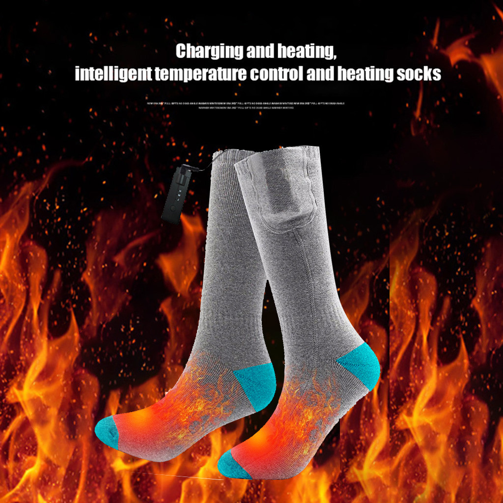 New Rechargeable Heating Cotton Heated Gery Socks Keep Warm Foot Electric Warming Charge Winter Unisex Socks