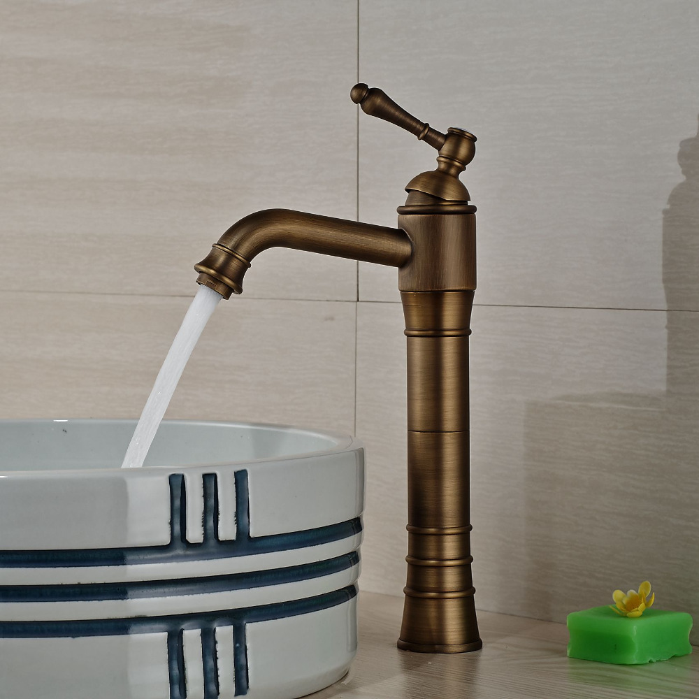 Modern  Antique Brass Bathroom Basin Faucet Vanity Sink Mixer Tap Countertop Faucet Hot and Cold Water  antique bathroom vanity sink faucet single ceramic handles brass hot and cold basin mixer copper pop up drain