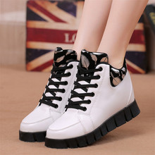 Girls leisure Shoes Breathable Lace Up In with Material Height Increasing 2016 New Autumn Winter Fashion Women Casual Shoes