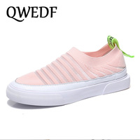 QWEDF Vulcanized Shoes Autumn Mesh Flat With Loafers Cotton Women Flats Casual Comfortable Walking Stripe For Female X4-51