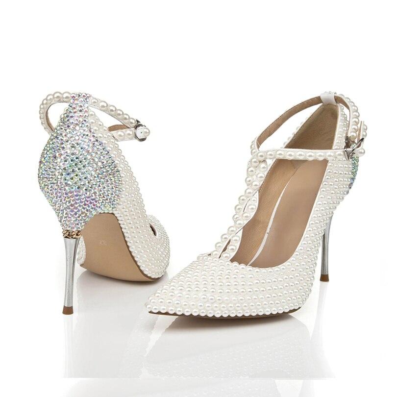 Brilho Sapatos de Casamento Dedo Apontado Elegante Salto Fino Fivela Cinta T Mulher De Salto Alto - 2