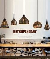 빈티지 산업 로프트 레트로 블랙 단 철 매달려 램프 중공 조각 펜 던 트 조명 레스토랑 바 카페 클럽